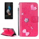 For Huawei P8 Lite Magenta Flowers Leather Case with Holder, Card Slots & Wallet