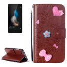 For Huawei P8 Lite Brown Flowers Leather Case with Holder, Card Slots & Wallet
