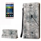 For Huawei P8 Lite 3D Dandelion Leather Case with Holder, Card Slots & Lanyard