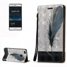 For Huawei P9 Lite 3D Feather Leather Case with Holder, Card Slots & Lanyard