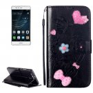 For Huawei P9 Black Heart Leather Case with Holder, Card Slots & Wallet