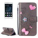 For Huawei P9 Grey Heart Leather Case with Holder, Card Slots & Wallet