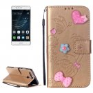For Huawei P9 Gold Heart Leather Case with Holder, Card Slots & Wallet