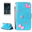 For Huawei P9 Blue Heart Leather Case with Holder, Card Slots & Wallet