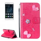 For Huawei P9 Magenta Heart Leather Case with Holder, Card Slots & Wallet