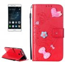 For Huawei P9 Red Heart Leather Case with Holder, Card Slots & Wallet