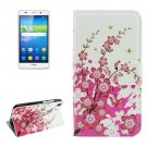 For Huawei Y6 Blossom Pattern Leather Case with Holder, Card Slots & Wallet