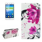 For Huawei Y6 Lotus Pattern Leather Case with Holder, Card Slots & Wallet