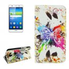 For Huawei Y6 Crystal Pattern Leather Case with Holder, Card Slots & Wallet