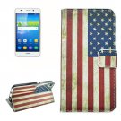 For Huawei Y6 US Flag Pattern Leather Case with Holder, Card Slots & Wallet