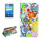 For Huawei Y6 Fireworks Pattern Leather Case with Holder, Card Slots & Wallet