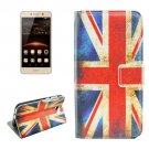 For Huawei Y5 II UK Flag Pattern Leather Case with Holder, Card Slots & Wallet