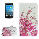 For Ascend Y600 Blossom Pattern Leather Case with Holder, Card Slots & Wallet