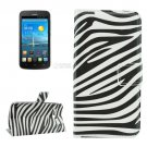 For Ascend Y600 Zebra Pattern Leather Case with Holder, Card Slots & Wallet