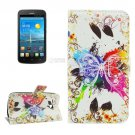 For Ascend Y600 Crystal Pattern Leather Case with Holder, Card Slots & Wallet