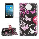 For Ascend Y600 Butterfly Pattern Leather Case with Holder, Card Slots & Wallet