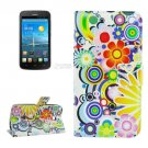 For Ascend Y600 Fireworks Pattern Leather Case with Holder, Card Slots & Wallet