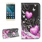 For Honor 4X Hearts Pattern Leather Case with Holder, Card Slots & Wallet