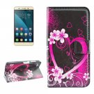For Honor 4X Peach Pattern Leather Case with Holder, Card Slots & Wallet