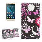 For Honor 4X Butterfly Pattern Leather Case with Holder, Card Slots & Wallet