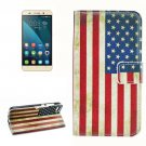 For Honor 4X US Flag Pattern Leather Case with Holder, Card Slots & Wallet