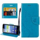 For Huawei Y6 II Blue Butterflies Leather Case with Holder, Card Slots & Wallet