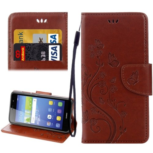 For Huawei Y6 II Brown Butterflies Leather Case with Holder, Card Slots & Wallet