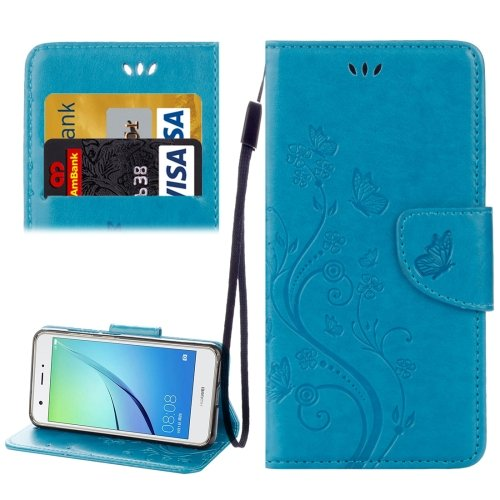 For Huawei NovaI Blue Butterflies Leather Case with Holder, Card Slots & Wallet