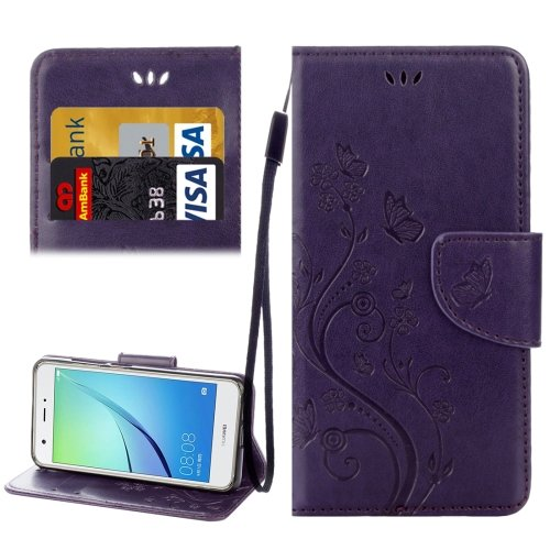 For Huawei NovaI Purple Butterflies Leather Case with Holder, Card Slots & Wallet