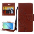 For Huawei NovaI Brown Butterflies Leather Case with Holder, Card Slots & Wallet