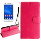 For Honor 4A & Y6 Magenta Litchi Leather Case with Holder, Card Slots & Wallet