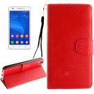 For Honor 4A & Y6 Red Litchi Leather Case with Holder, Card Slots & Wallet