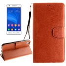 For Honor 4A & Y6 Brown Litchi Leather Case with Holder, Card Slots & Wallet