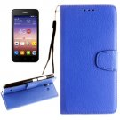 For Ascend Y550 Blue Litchi Leather Case with Holder, Card Slots & Wallet