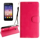 For Ascend Y550 Magenta Litchi Leather Case with Holder, Card Slots & Wallet