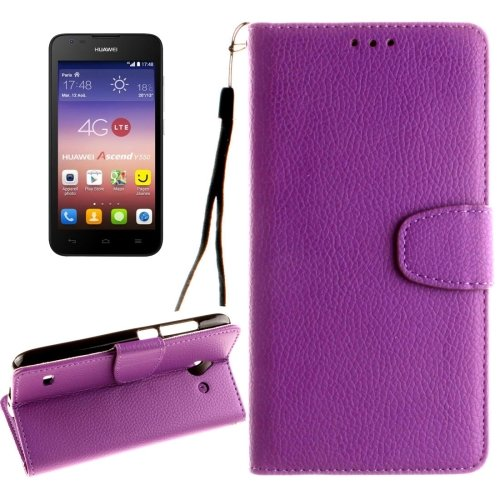 For Ascend Y550 Purple Litchi Leather Case with Holder, Card Slots & Wallet