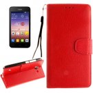 For Ascend Y550 Red Litchi Leather Case with Holder, Card Slots & Wallet
