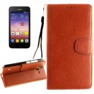 For Ascend Y550 Brown Litchi Leather Case with Holder, Card Slots & Wallet
