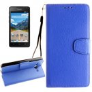 For Ascend Y530 Blue Litchi Leather Case with Holder, Card Slots & Wallet