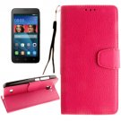 For Huawei Y5 Magenta Litchi Leather Case with Holder, Card Slots & Wallet