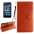 For Huawei Y5 Brown Litchi Leather Case with Holder, Card Slots & Wallet