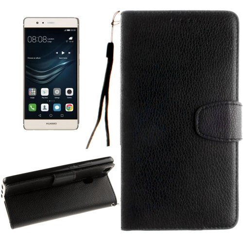 For Huawei P9 Lite Black Litchi Leather Case with Holder, Card Slots & Wallet