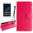 For Huawei P9 Lite Magenta Litchi Leather Case with Holder, Card Slots & Wallet