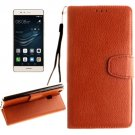 For Huawei P9 Lite Brown Litchi Leather Case with Holder, Card Slots & Wallet