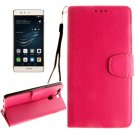 For Huawei P9 Magenta Litchi Leather Case with Holder, Card Slots & Wallet