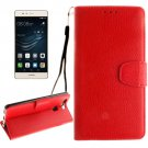 For Huawei P9 Red Litchi Leather Case with Holder, Card Slots & Wallet