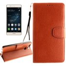 For Huawei P9 Brown Litchi Leather Case with Holder, Card Slots & Wallet