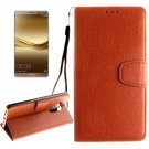 For Huawei Mate 8 Brown Litchi Leather Case with Holder, Card Slots & Wallet