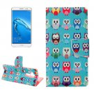 For nova plus Owls Pattern Leather Case with Holder, Card Slots & Wallet