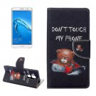 For nova plus Bear Pattern Leather Case with Holder, Card Slots & Wallet